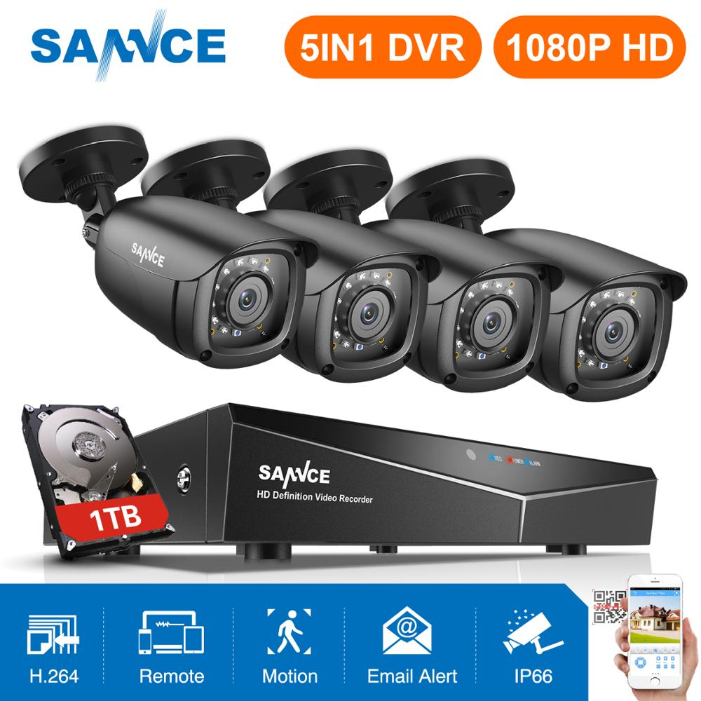 SANNCE HD 1080P Security Camera System 5in1 4CH DVR 2MP IR CUT Motion Detection