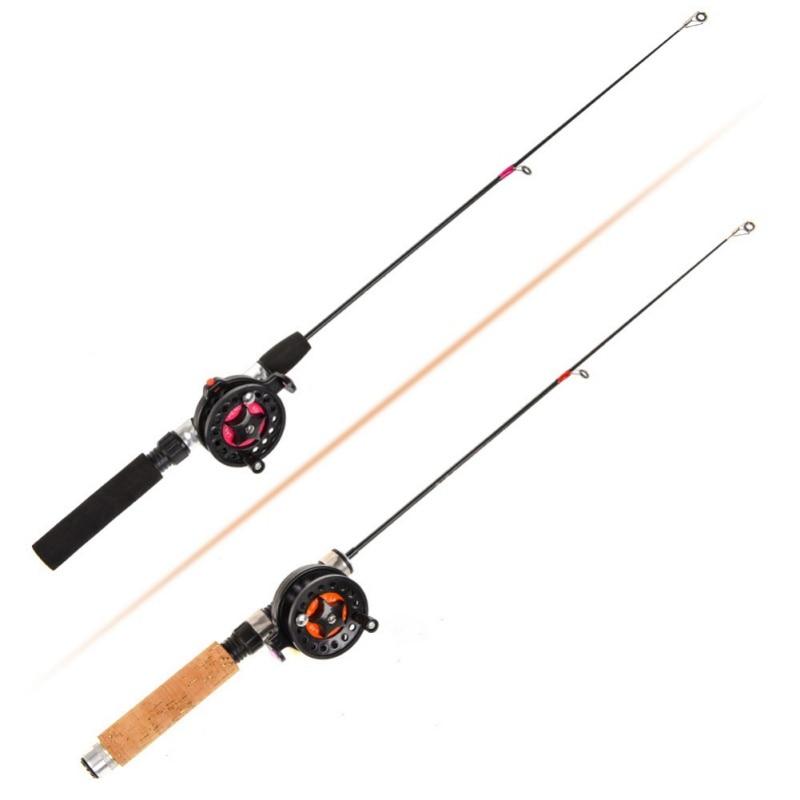 Ice Fishing Rod (Reel) Winter Super Short FRP Fiber Lightweight Retractable Telescopic Pole (Wheel) For Freshwater Saltwater