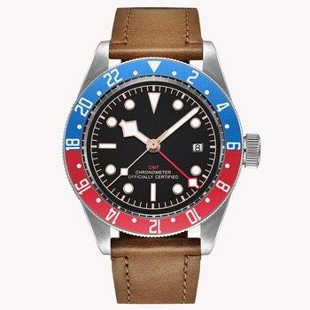 Luksusowa tarcza zegarek marki 41MM Corgeut mechaniczny zegarek męski sapphire GMT mężczyźni automatyczny wojskowy Sport zegar z kalendarzem skóra 2031