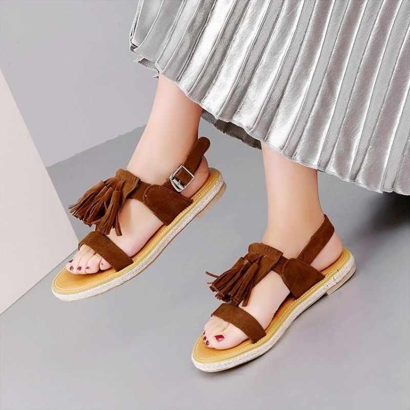 Sapatos femininos sandálias 2020 novo rebanho gladiador casual deslizamento na parte traseira cinta plana com dedo do pé aberto franja gladiador sapatos femininos