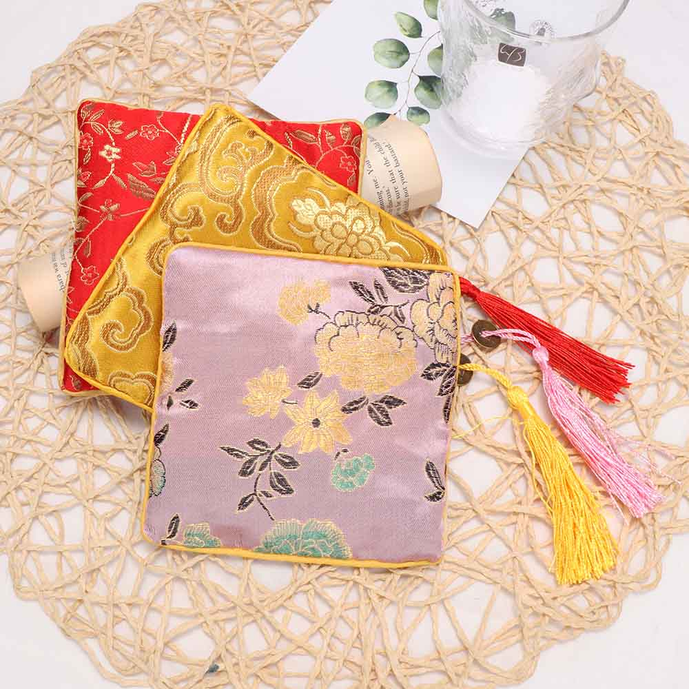 1 Pc Tassel Rectangle Zipper Jewelry Bag Chinese Style Silk Brocade Jewelry Necklace Trinket Comb Cosmetic Storage Pouch