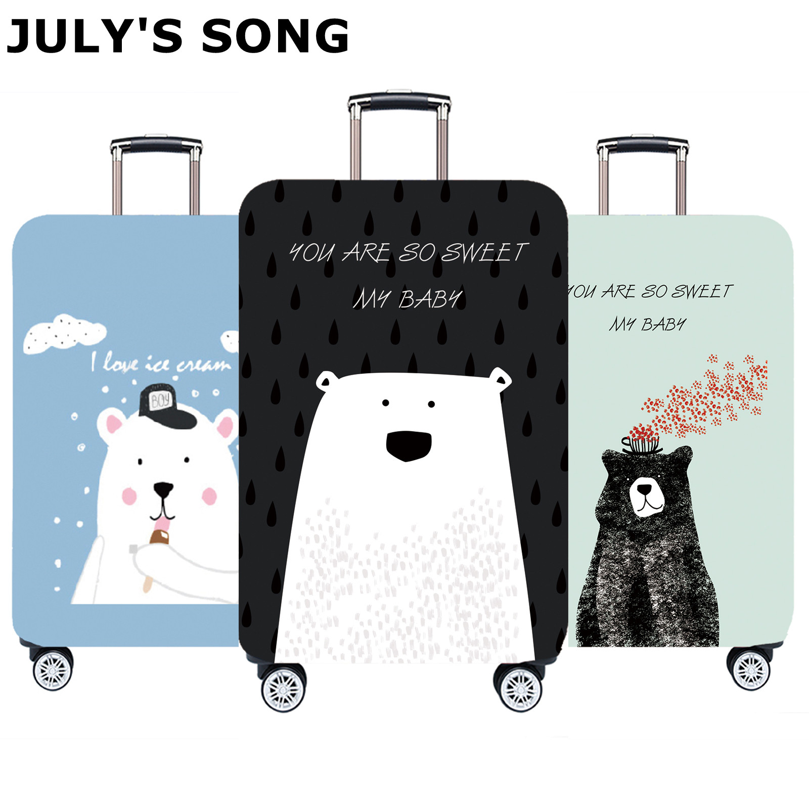 JULY'S SONG New Luggage Protective Covers Dust-proof Suitcase Covers With Zipper Trolley Case Cover Travel Accessories