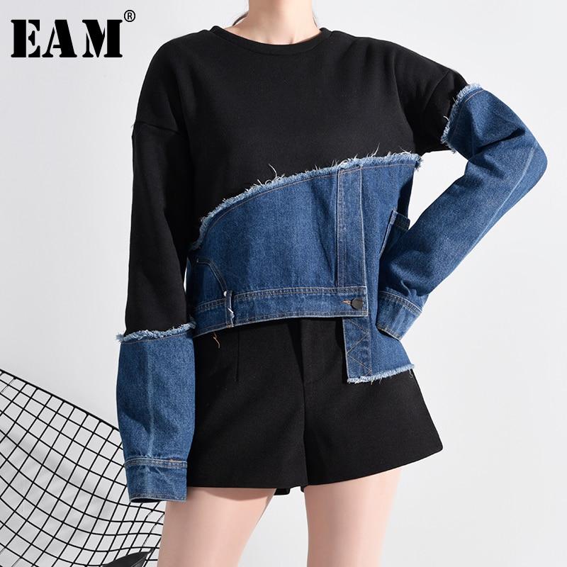 [EAM] Loose Fit Denim Burr Split Asymmetrical Sweatshirt New Round Neck Long Sleeve Women Big Size Fashion Spring 2020 1M87901