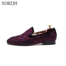 XOBZJH 2019 Shoes Male Loafers Summer Men Luxury Prom Wedding Red Rhinestone Italian Bottom Slip On DHL Shipping