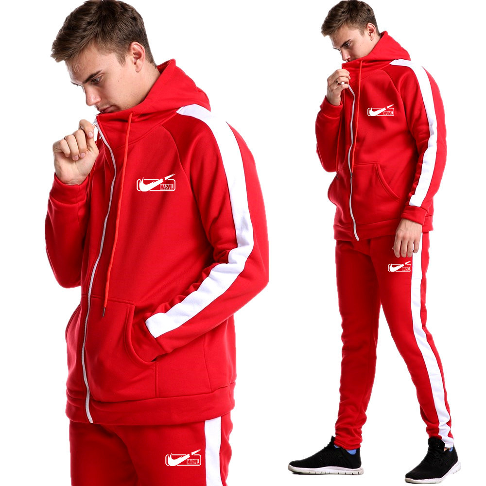 Spring Men's Hooded Sweatshirt Gym Sweatshirt Jacket + Sports Track And Field Pants Brand Clothing Set