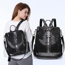 Women Shoulder Top-handle Bags Multifunction Anti-theft Travel Backpacks Women Fashion Sequin Girls Travel Knapsack Oxford Bags