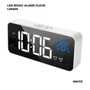 Lustrzany budzik LED zegar cyfrowy zegar drzemki obudź się elektroniczny wyświetlacz temperatury w dużym czasie zegar dekoracyjny do domu tanie i dobre opinie CN (pochodzenie) SQUARE DIGITAL 185g Zegarki z alarmem Z tworzywa sztucznego Nowoczesne Jedna twarz LED Mirror Alarm Clock