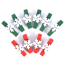 10PCS 3.5*0.7CM Red Green Clip + White Flower Christmas Decoration Clothespin White Snow Wood Applique Clip(China)