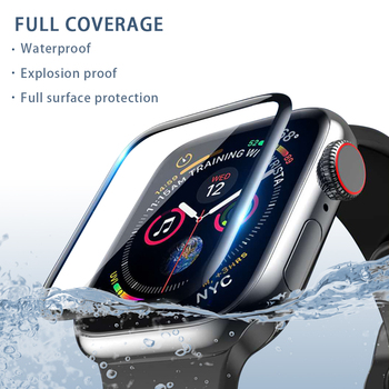 3D curved edge HD fiber glass film for Apple Watch 5 4 3 2 1 series tempered screen protector apply to iwatch 38mm 40mm 42mm44mm 3d curved full cover tempered glass film for apple watch 40mm band flim screen protector for iwatch series 4