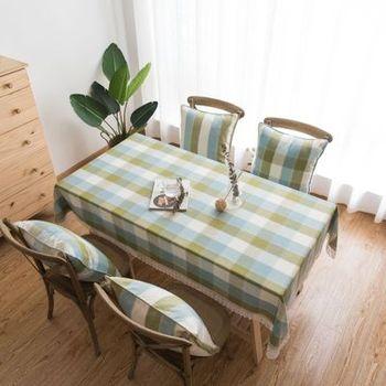 Mantel decorativo de lino impermeable con borde de encaje a cuadros verdes, Antimanchas Mantel, Color de verano