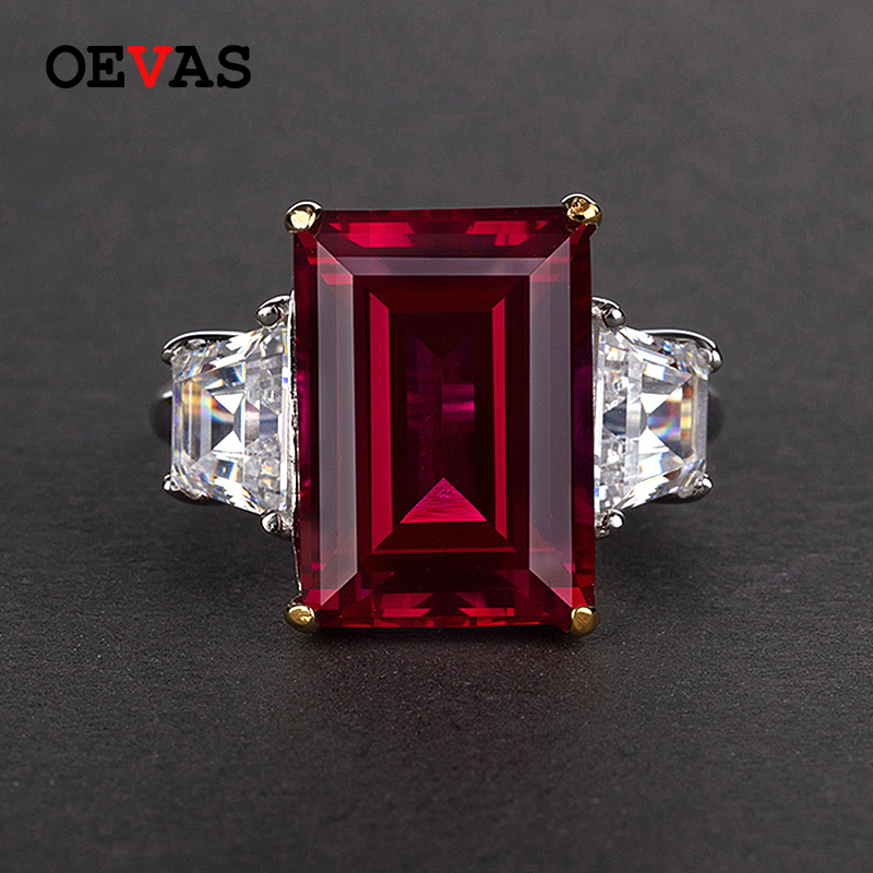 OEVAS 100% 925 Silver Jewelry Natural Ruby Gemstone Jewelry Rings Women's Fashion Finger Ring Party Engagement Gift Size 4-12