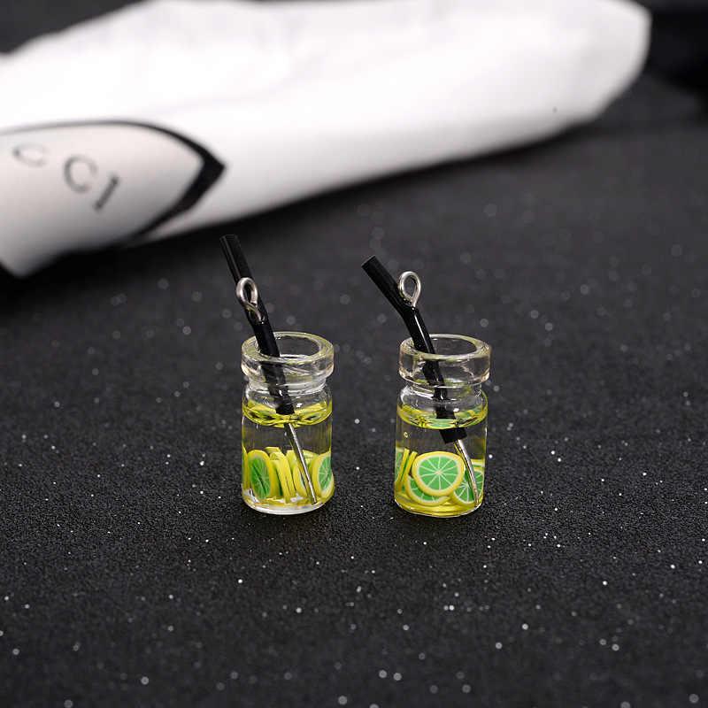 2 قطعة دمية مصغرة الغذاء الراتنج زجاجة فاكهة صغيرة محاكاة المشروبات نموذج اللعب مشروب فواكه اللعب دمية الدمى اكسسوارات