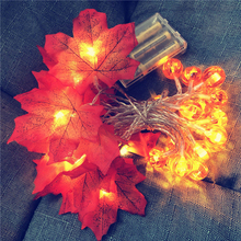 LED Клен Листья Гирлянда Фея Огни 1.5M% 2F 3M Осень Клен Строка Свет для Хэллоуин Рождество Вечеринка День Благодарения День Декор