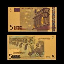 Billet de banque en or 24k, Euro 5 feuille d'or, décor de Table/ornement