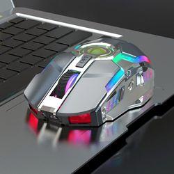 Greatlizard Máy Tính Laptop 2.4G Đen Bạc Chuột Không Dây Sạc Ánh Sáng RGB Ánh Bạc Đen