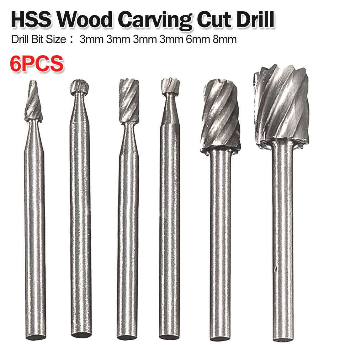 6pcs Rotary Tool HSS Drill Bit Set Cutting Routing Router Grinding Bit Milling Cutter For Woodworking / Plastic Carving Cut Tool