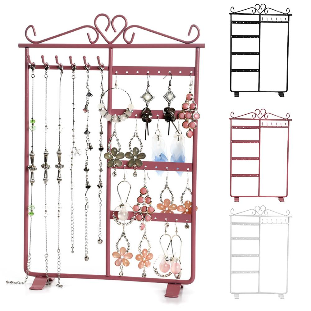 32 Holes 6 Hooks Iron Jewelry Display Rack Earring Holder  Jewelry Display Stand  Ear Studs Stand Organizer Holder Display Showc