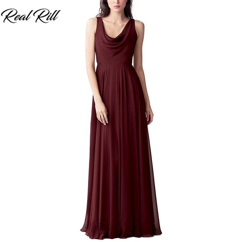 Real Rill Cowl décolleté robes de demoiselle d'honneur Zipper Up v-back plissée longueur de plancher en mousseline de soie robe de mariée pour la fête de mariage - 4