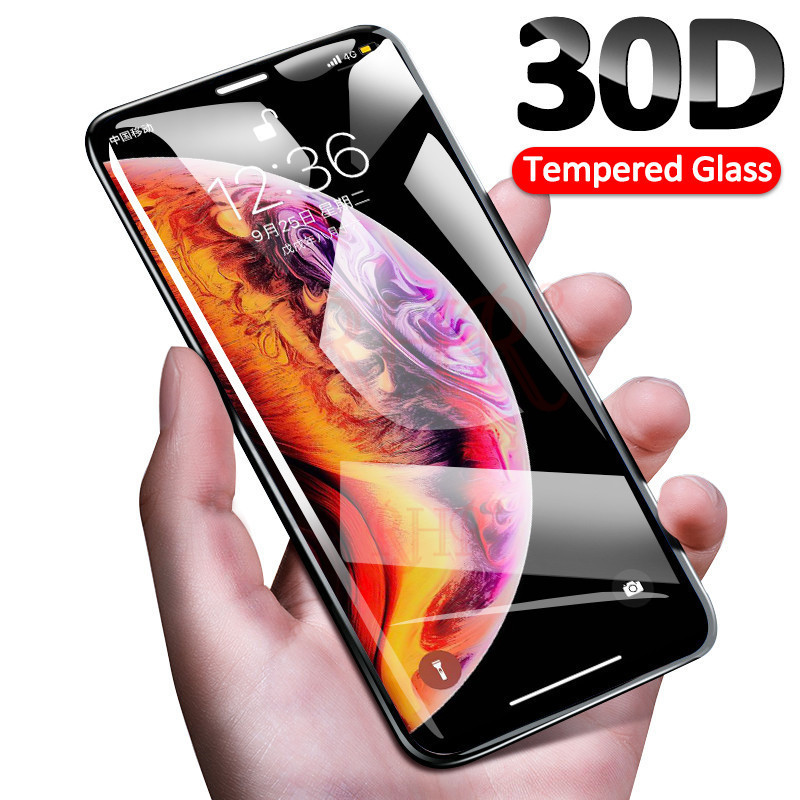 Protective Glass-On Curved-Edge Full-Cover Max-Tempered iPhone Xr Xs-Max for 30D