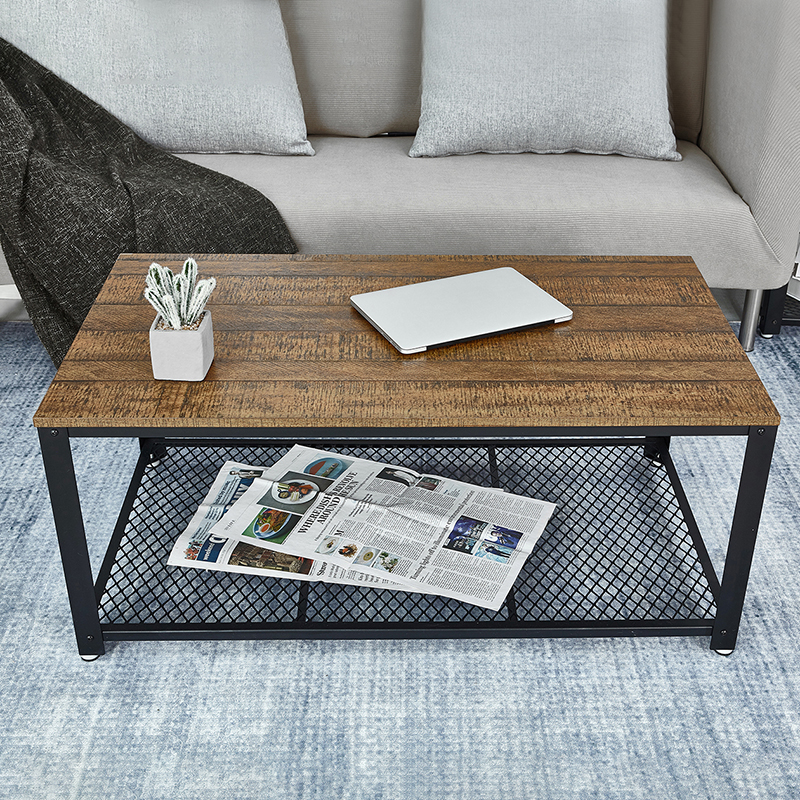 Retro Rectangle Coffee Table Iron Metal Coffee Table Industrial Style Living Room Home Furniture