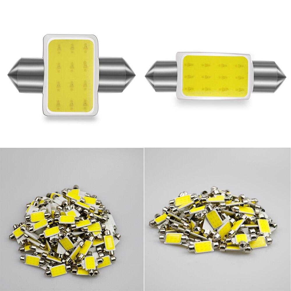 100 pces festoon c5w luz interior 31/36/39/41mm led carro lâmpada 12smd cob luz de leitura automática dome luz da placa de licença por atacado 12v