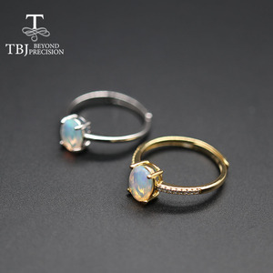 Image 3 - Simple  Opal women Ring Natural Ethiopia oval 6*8mm 1carat gemstone 925 Sterling silver  yellow gold fine jewelry tbj promotion