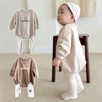 2021 New Baby Boy Bear Print Bodysuit Cute Cartoon Infant Girl Long Sleeve Jumpsuit Autumn Cotton Long Sleeve Toddler Clothes