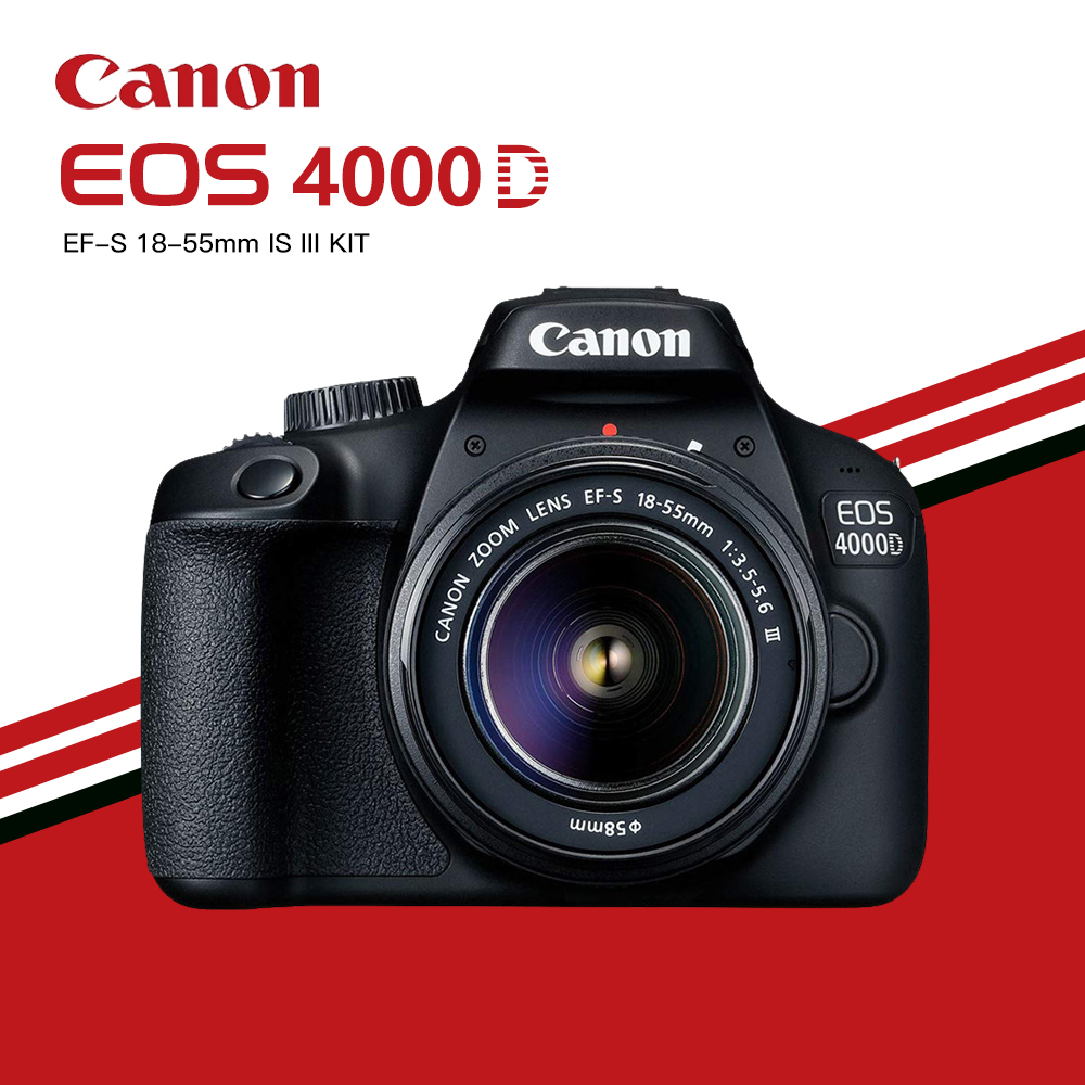 Canon EOS 4000D DSLR Camera with EF-S 18-55mm f/3.5-5.6 DC III Zoom Lens