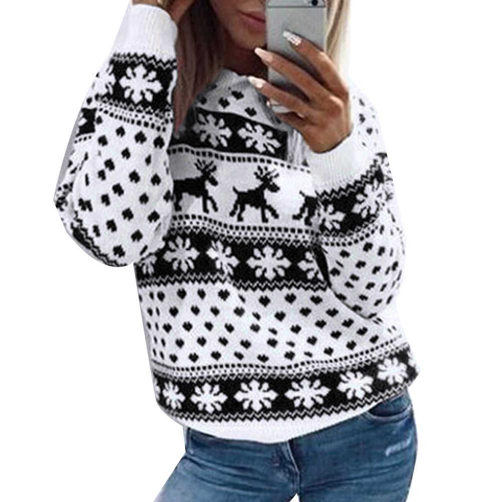 가을, 겨울 여성 크리스마스 엘크 스노우 스웨터 프린트 긴 소매 풀오버 스웨터 블라우스 탑 크리스마스 코스프레 스웨터