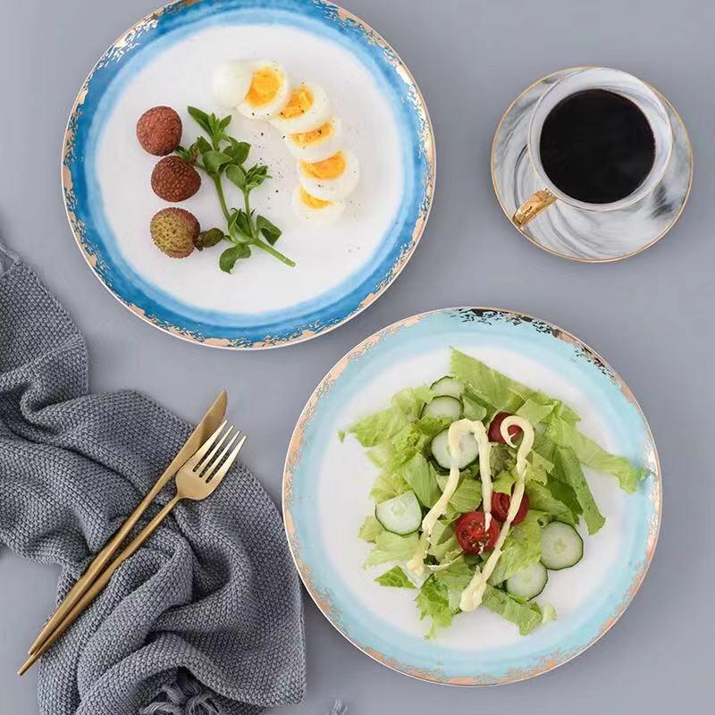 Nouveau or incrustation paysage brouillard assiettes en céramique assiettes Dessert plateau créatif Steak cuisine vaisselle décor à la maison plats assiettes - 3