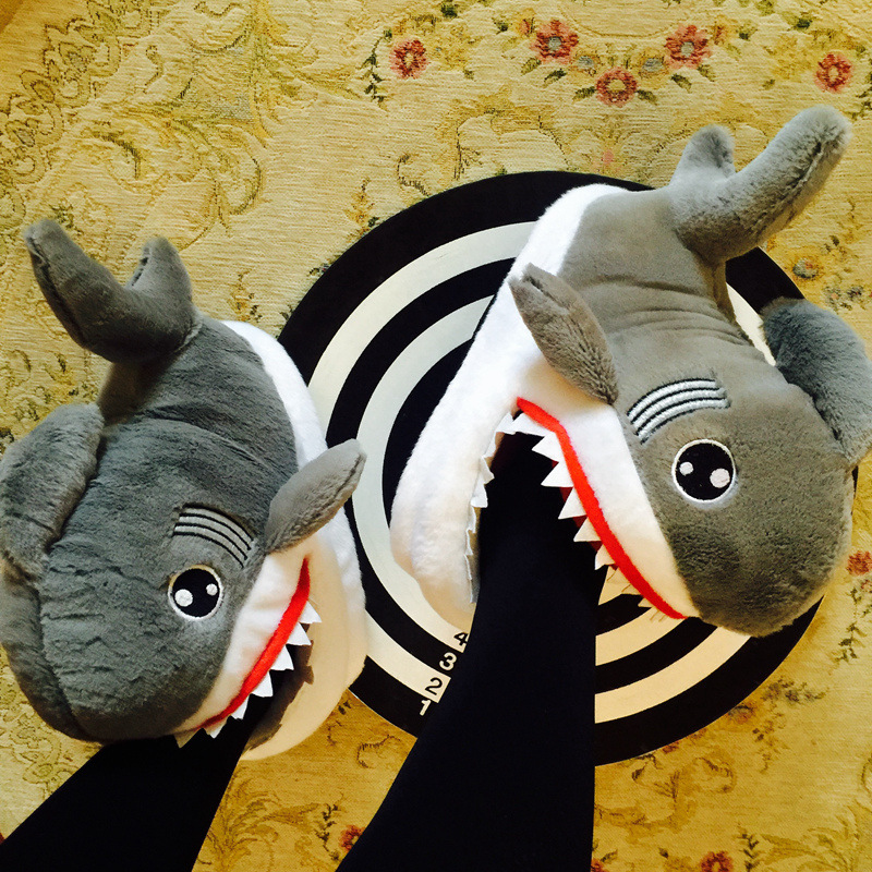Winter Animal Funny Shoes For Men And Women 2019 Warm Soft Bottom Home House Indoor Floor Shark Shape Furry Slippers Shallows