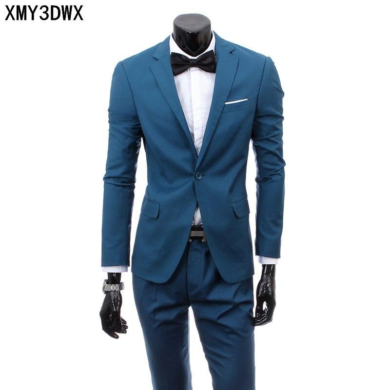 (jacket+pants) 2020 Custom made Mens Light Gray Suits Jacket Pants Formal Dress Men Suit Set men wedding suits groom tuxedos