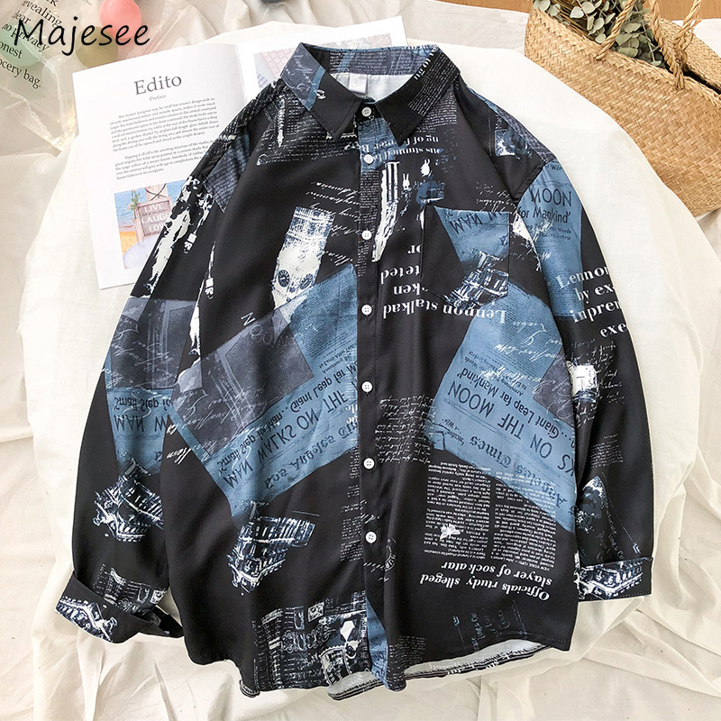 Shirt Men Clothes Long Sleeve Printed Black Harajuku Tops Mens Shirts Korean Style Students White Clothing Plus Size Daily Chic