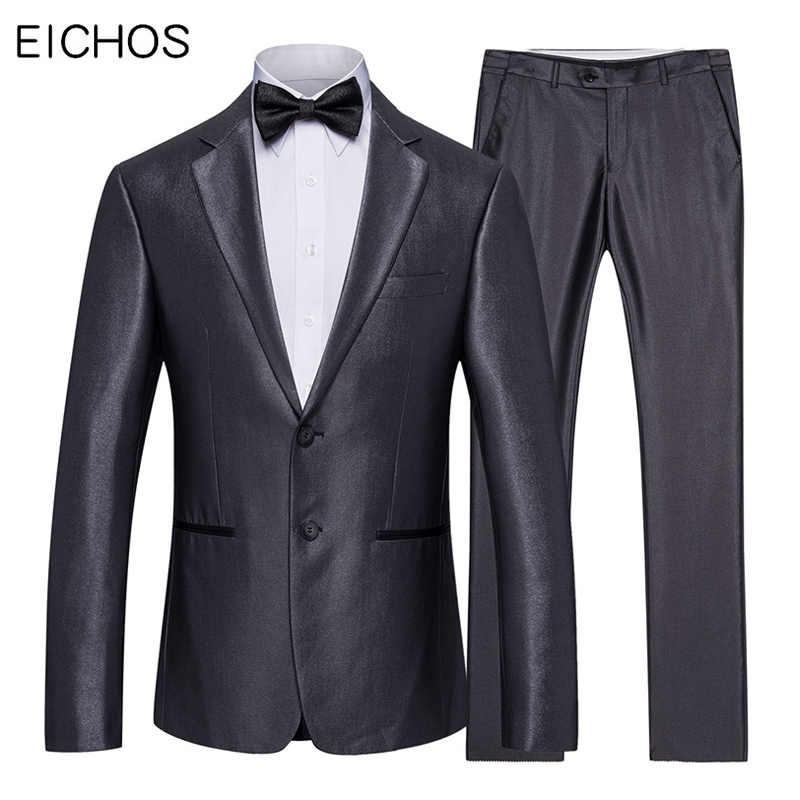 Men Suits 2019 Slim Fit Business Work Wear Blazer Suits Set Fashion Men Wedding Suit Bright Grey Party Dinner Tuxedo For Man