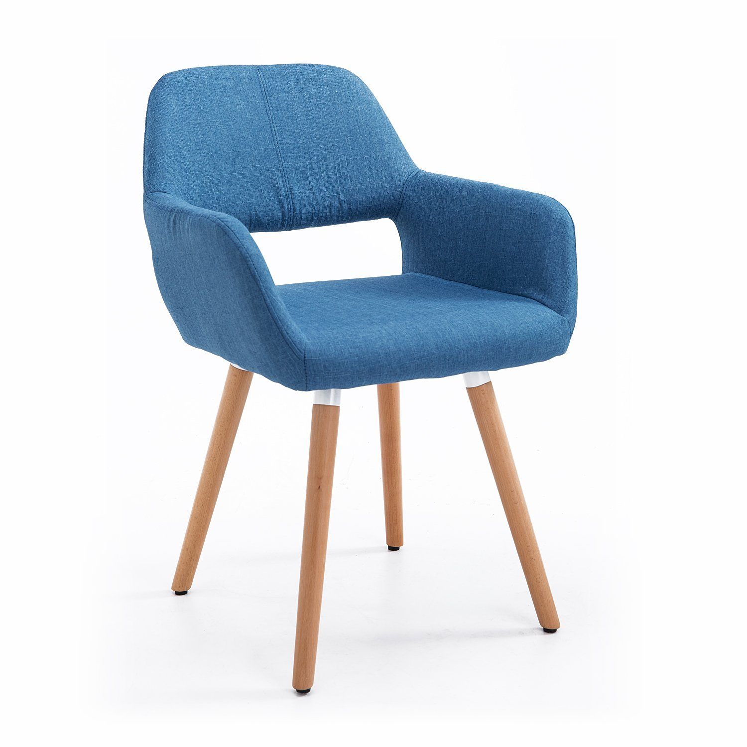 HOMCOM Chair Armchair Modern Design Padded With Soft And Fluffy Sponge Non-Slip Feet Wooden Beech 56x56x79cm