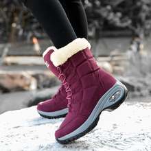 Купить с кэшбэком Women High-top Air Cushion Snow Boot Winter Plush Non-slip Leather Suede Boot Warm Cross-tied Waterproof Chunk Heel Snow Boot D2