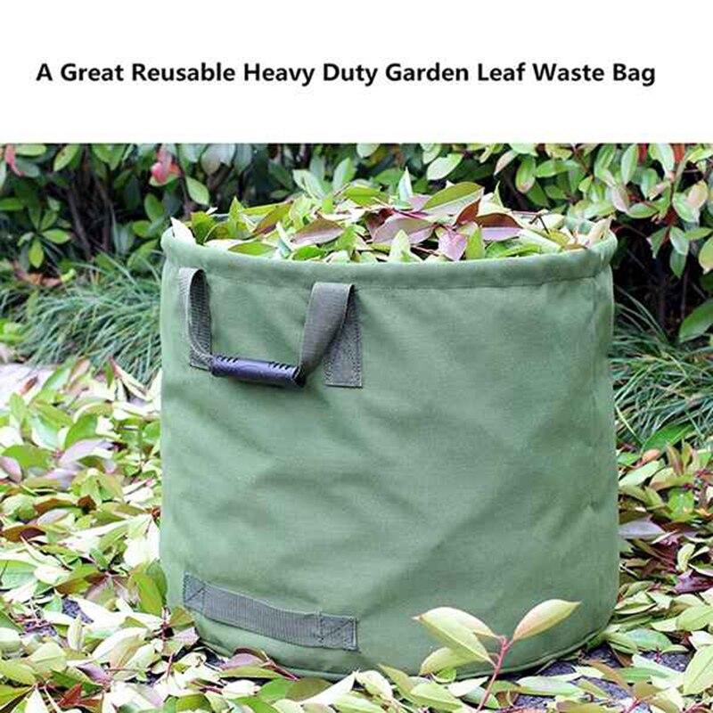Ev ve Bahçe'ten Çöp Torbaları'de 2 Pack 33 galon tuval bahçe çantaları  yeniden kullanılabilir ağır katlanabilir çöp tenekesi askeri kanvas kumaş  bahçe yaprağı atık torbası title=