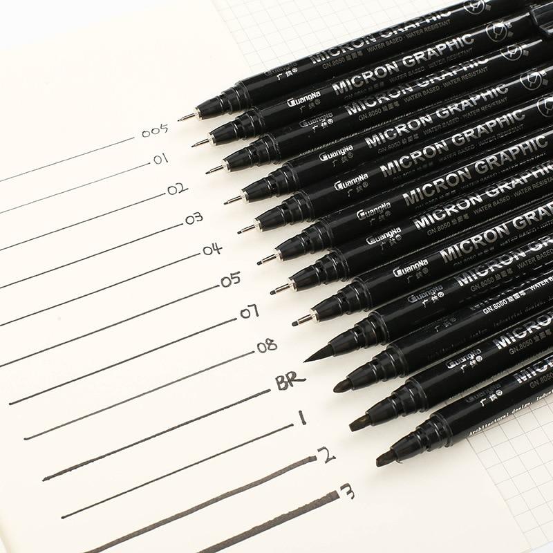 6/9/12pcs/set Waterproof Hook Line Pen Comic Stroke Stroke Anime Black Sketch Water Marker Pen For Manga Stationery Supplies