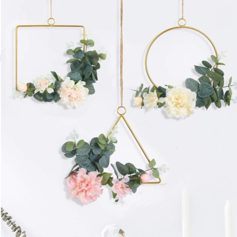 3PCS Cilected Flower Hanging Hoop Wreath Geometric Round Triangle Square Frame Artificial Flower For Wedding Backdrop Wall Decor