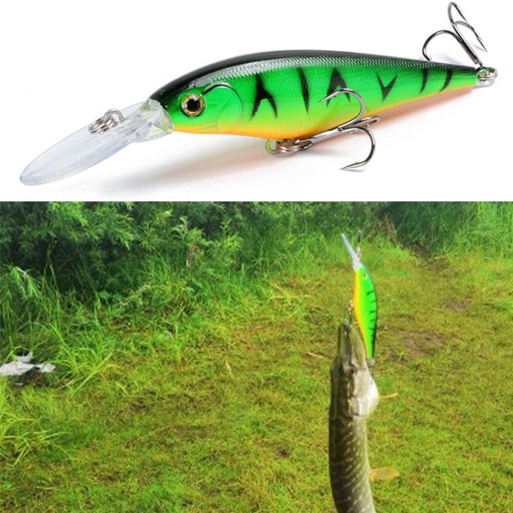 1pcs Long Tongue Minnow Fishing Lure 115mm 10.5g  Aritificial Hard Wobbler Crankbait With 2 Treble Hooks Fishing Tackle Lure