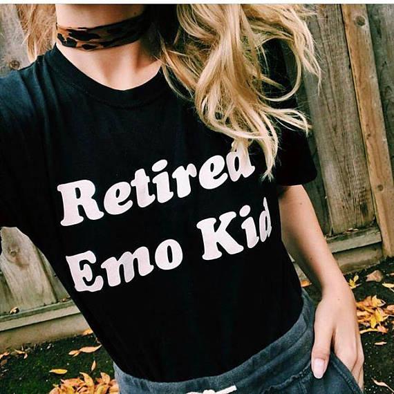 Fashion Clothing RETIRED EMO KID Ladies T-shirt Women Summer Style Cotton Tees Tops Female Tumblr Graphic Tshirt(China)