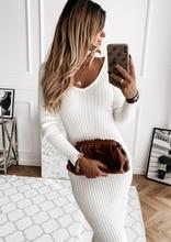 Vestido com decote em v de malha elástico manga comprida bodycon elegante feminino 2020 outono inverno sexy sólidos vestidos de festa magro