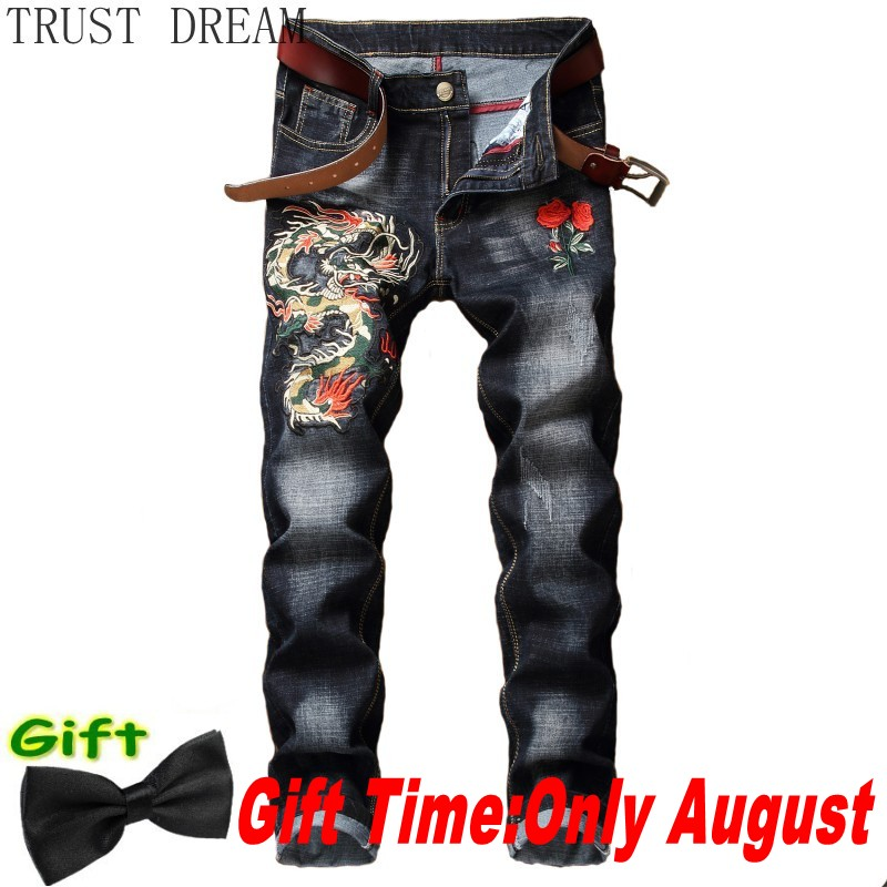 2020 Men Denim Pencil Pant Embroidery Stretch Red Rose Fly Dragon Mens Casual Slim Trouser Power Man Club Hip Hop Cool Punk Jean