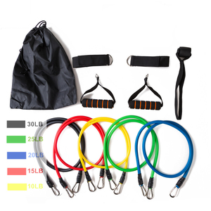 17Pcs/Set Latex Resistance Bands Yoga Exercise Fitness Band Rubber Loop Tube Bands Gym Door Anchor Ankle Straps With Bag Kit Set(China)