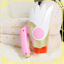 Card Captor Sakura Cartoon Hair Dryer Folding Birds Head Shape White Wings Star Cosplay Pink Anime Action Figure Printed Doll