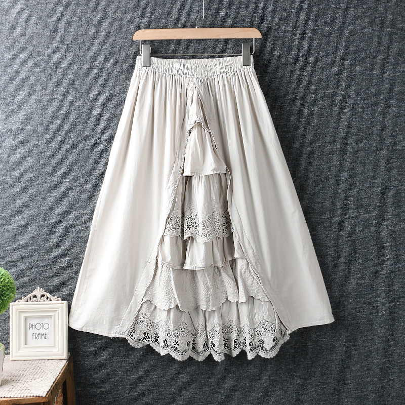 2020 New Spring Women Skirt Literary Fresh Lace Embroidery Cotton And Linen Solid Color Skirt Women