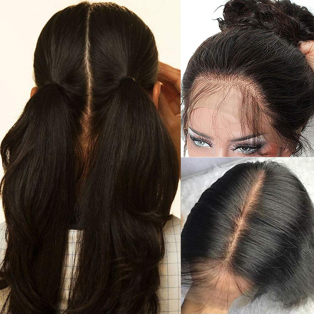 100% Brazilian Human Hair Silk Base Full Lace Wigs Glueless Long Straight Lace Wig With Baby Hair Pre Plucked For Black Women