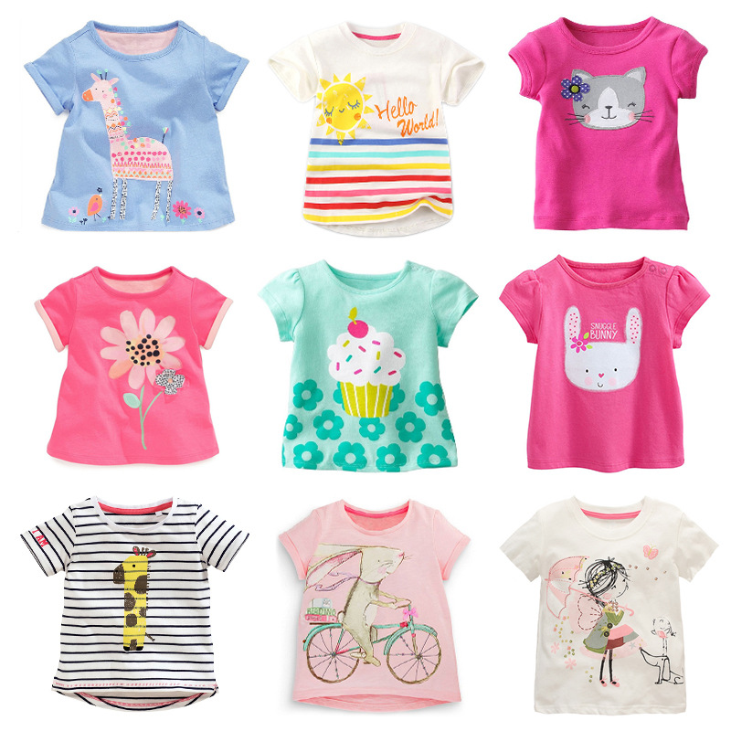 2020 Summer Girls T Shirt Children Tops Cartoon Kids T-shirts Short Sleeve Baby Clothing