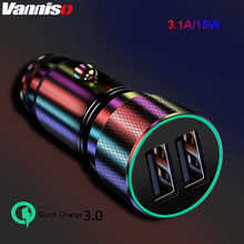 3.1A 15W car chager For Mobile Phone GPS Mini USB Car-Charger Dual Car Charge Adapter in with LED light for iphone