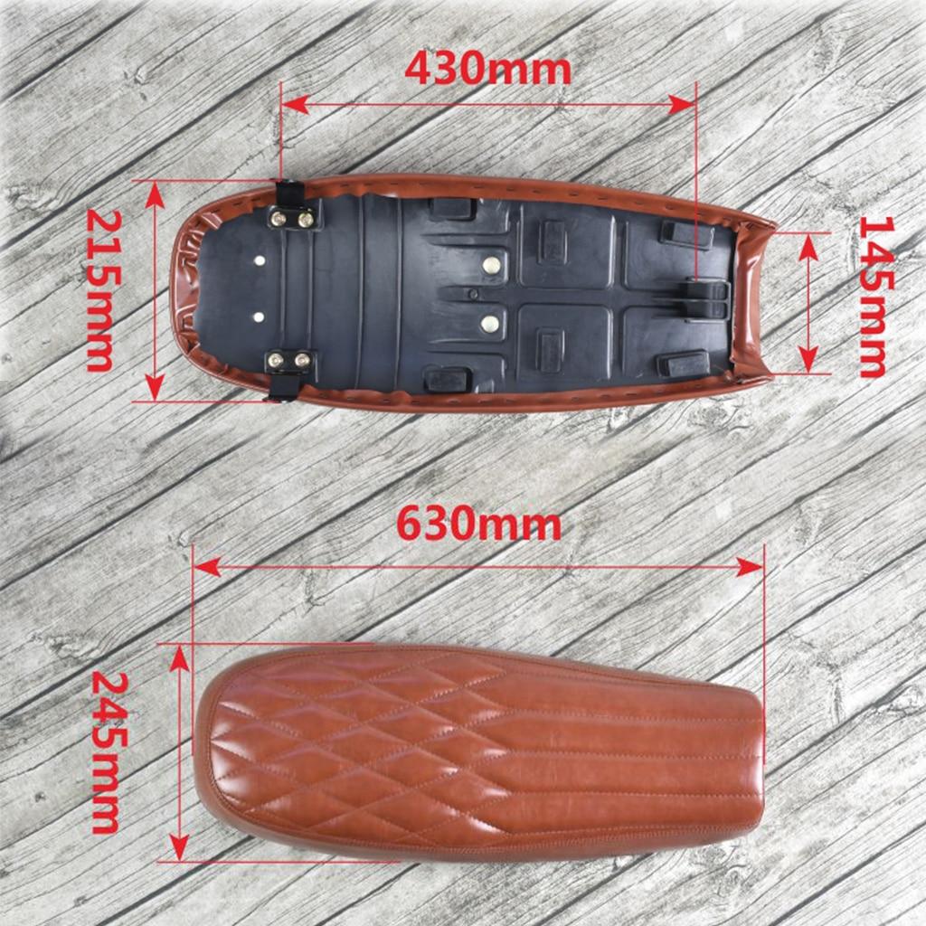 Universal Motorcycle Black Rhombus PU Leather Flat Seat Saddle Waterproof